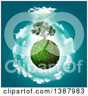 Clipart Of A 3d Tree Growing On A Glassy Planet With Clouds And Sunshine Royalty Free Illustration