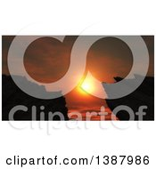 Clipart Of A Deep Orange Sunset Framed Between Silhouetted Mountains Royalty Free Illustration by KJ Pargeter