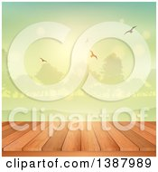 Clipart Of A 3d Deck Or Picnic Table With A View Of A Park At Sunrise Or Sunset Royalty Free Vector Illustration