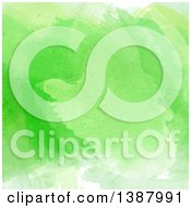 Clipart Of A Bright Green Watercolor Background Royalty Free Vector Illustration
