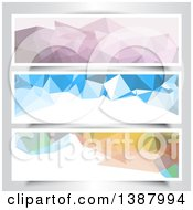 Clipart Of Abstract Low Poly Geometric Website Banners Royalty Free Vector Illustration