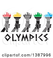 Clipart Of A Row Of Hands Holding Torches With Colorful Flames Over Olympics Text Royalty Free Vector Illustration by Johnny Sajem