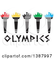 Clipart Of A Row Of Torches With Colorful Flames Over Olympics Text Royalty Free Vector Illustration