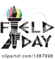 Hand Holding An Olympic Torch With Colorful Flames In Field Day Text