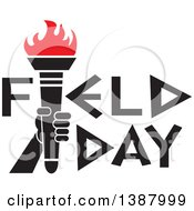 Clipart Of A Hand Holding An Olympic Torch With Red Flames In Field Day Text Royalty Free Vector Illustration by Johnny Sajem