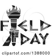 Clipart Of A Black And White Hand Holding An Olympic Torch In Field Day Text Royalty Free Vector Illustration by Johnny Sajem