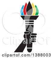 Clipart Of A Hand Holding An Olympic Torch With Colorful Flames Royalty Free Vector Illustration