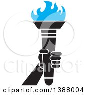 Clipart Of A Hand Holding An Olympic Torch With Blue Flames Royalty Free Vector Illustration