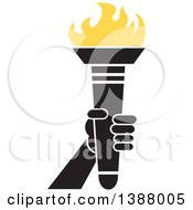 Clipart Of A Hand Holding An Olympic Torch With Yellow Flames Royalty Free Vector Illustration by Johnny Sajem