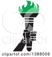 Clipart Of A Hand Holding An Olympic Torch With Green Flames Royalty Free Vector Illustration