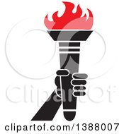 Clipart Of A Hand Holding An Olympic Torch With Red Flames Royalty Free Vector Illustration by Johnny Sajem