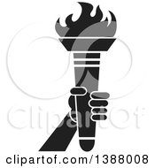 Clipart Of A Black And White Hand Holding An Olympic Torch Royalty Free Vector Illustration
