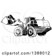 Clipart Of A Black And White Excavator Machine Royalty Free Vector Illustration