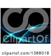 Clipart Of A Background Of Blue Glowing Swooshes On Black Royalty Free Vector Illustration