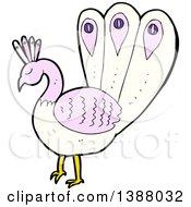 Clipart Of A Cartoon Peacock Bird Royalty Free Vector Illustration