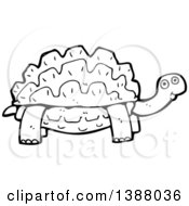 Clipart Of A Cartoon Black And White Lineart Tortoise Turtle Royalty Free Vector Illustration by lineartestpilot
