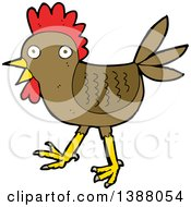 Clipart Of A Cartoon Rooster Chicken Royalty Free Vector Illustration by lineartestpilot