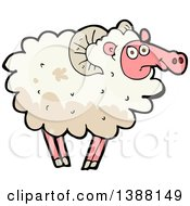Clipart Of A Cartoon Sheep Royalty Free Vector Illustration by lineartestpilot