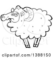 Clipart Of A Cartoon Black And White Lineart Sheep Royalty Free Vector Illustration by lineartestpilot