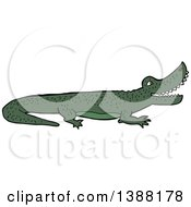 Clipart Of A Green Crocodile Or Alligator Royalty Free Vector Illustration