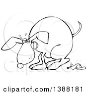 Clipart Of A Cartoon Black And White Lineart Dog Straining And Pooping Royalty Free Vector Illustration