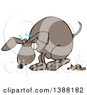 Clipart Of A Cartoon Brown Dog Straining And Pooping Royalty Free Vector Illustration by Dennis Cox