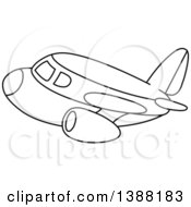 Black And White Lineart Airplane