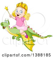 Clipart Of A Happy Blond Caucasian Princess Girl Riding A Flying Dragon And Holding A Wand Royalty Free Vector Illustration