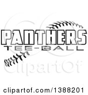 Clipart Of Black And White Panthers Tee Ball Text Over Baseball Stitches Royalty Free Vector Illustration