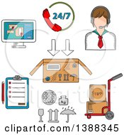Clipart Of Sketched Delivery Shipping And Logistics Service Icons Royalty Free Vector Illustration by Vector Tradition SM