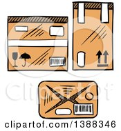 Clipart Of Sketched Shipping Boxes Royalty Free Vector Illustration