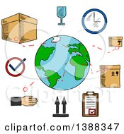 Clipart Of Sketched Worldwide Shipping And Logistics Service Icons Royalty Free Vector Illustration