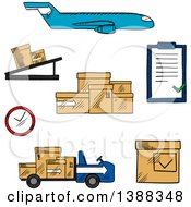 Clipart Of A Sketched Airplane Conveyor Cardboard Boxes With Packaging Symbols Airport Truck Clock And Clip Board With Order List Royalty Free Vector Illustration