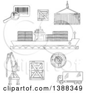 Clipart Of Sketched Dark Gray Shipping And Logistics Icons Royalty Free Vector Illustration