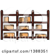 Clipart Of Sketched Shipping Boxes On Shelves Royalty Free Vector Illustration