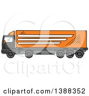 Clipart Of A Sketched Big Rig Truck Royalty Free Vector Illustration