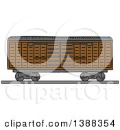 Clipart Of A Sketched Cargo Container Being Lifted Royalty Free Vector Illustration