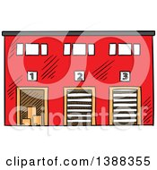 Clipart Of A Sketched Shipping Warehouse Royalty Free Vector Illustration