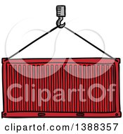 Clipart Of A Sketched Cargo Container Being Lifted Royalty Free Vector Illustration by Vector Tradition SM