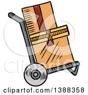 Clipart Of Sketched Shipping Boxes On A Dolly Royalty Free Vector Illustration
