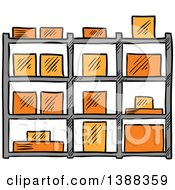 Clipart Of A Sketched Shipping Box Royalty Free Vector Illustration by Vector Tradition SM