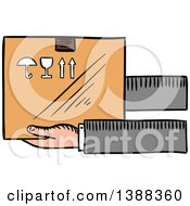 Clipart Of Sketched Hands Holding A Shipping Box Royalty Free Vector Illustration by Vector Tradition SM