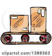 Clipart Of Sketched Shipping Boxes On A Belt Royalty Free Vector Illustration