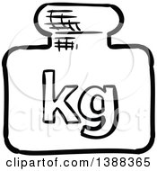 Clipart Of A Sketched Kg Shipping Icon Royalty Free Vector Illustration by Vector Tradition SM