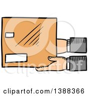 Clipart Of Sketched Hands Holding A Shipping Box Royalty Free Vector Illustration