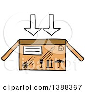 Clipart Of A Sketched Shipping Box Royalty Free Vector Illustration