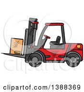 Clipart Of A Sketched Shipping Box On A Forklift Royalty Free Vector Illustration