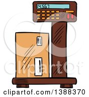Clipart Of A Sketched Shipping Box On A Scale Royalty Free Vector Illustration