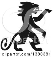 Clipart Of A Black Silhouetted Rampant Lion Royalty Free Vector Illustration by Seamartini Graphics
