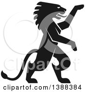 Clipart Of A Black Silhouetted Rampant Lion Royalty Free Vector Illustration